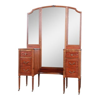 1920s Early Widdicomb Mahogany Vanity Dresser With Tri-Fold Mirror For Sale