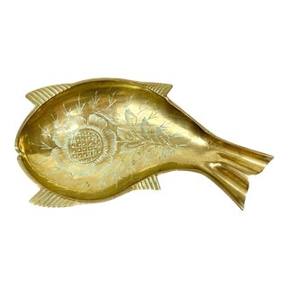 Vintage Brass Fish Ashtray For Sale