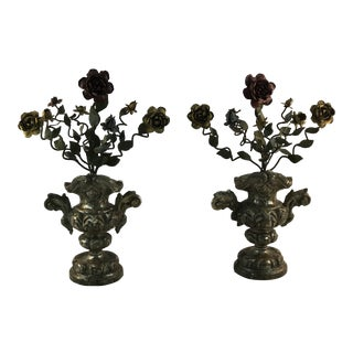 Antique Altar Garland Tole Iron Flowers in Wood Urns - a Pair For Sale