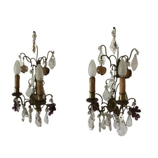 19th Century Vintage Crystal Wall Lights - a Pair