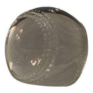 Vintage Steuben Crystal Baseball With Marble Base For Sale