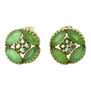 1960s Frosted Art Glass & Swarovski Crystal Gold Tone Earrings For Sale