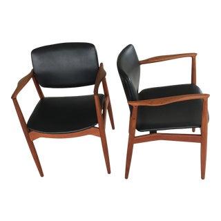 Mid-Century Modern Danish Erik Buch Model 67 Captains Chairs- a Pair For Sale