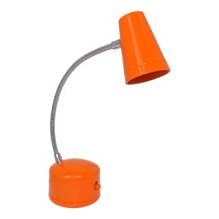 1970s Vintage Gooseneck Chrome Orange Table Lamp For Sale