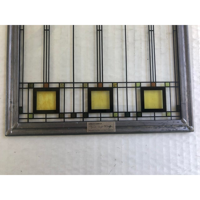 Modern Frank Lloyd Wright Inspired Stained Glass Panel For Sale - Image 3 of 8