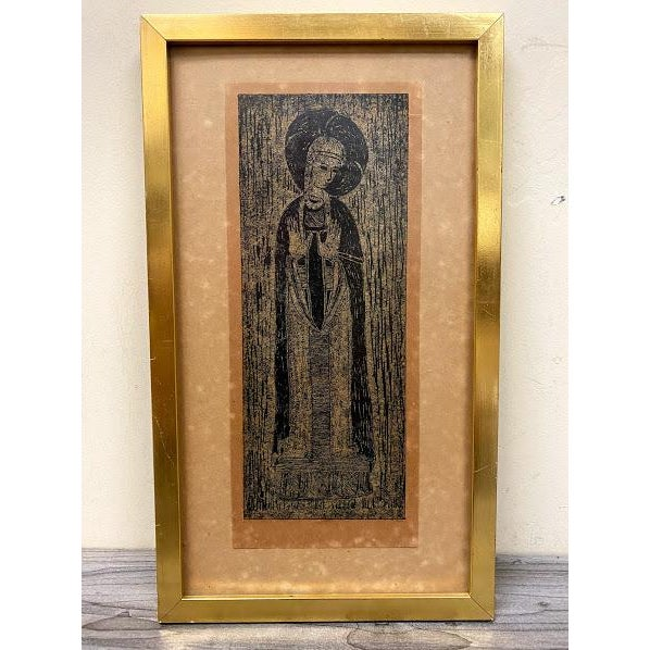 Early 20th Century Antique Rubbing, Mother of God, Framed For Sale - Image 5 of 5