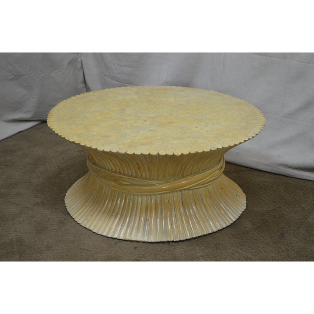 McGuire Style Mid Century Modern Round Wheat Sheaf Rattan Coffee Table - Image 8 of 13
