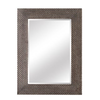 Terrace Bronze Weave Solid Wood Wall Mirror For Sale