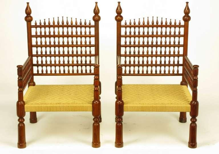 Pair Grand Moroccan Inspired Teak Open Fretwork U0026 Rush Arm Chairs   Image 2  Of 10