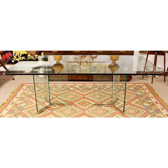 Vintage Pace Mid Century Modern Sculptural Rectangular Glass Chrome Dining Table For Sale In Detroit - Image 6 of 12