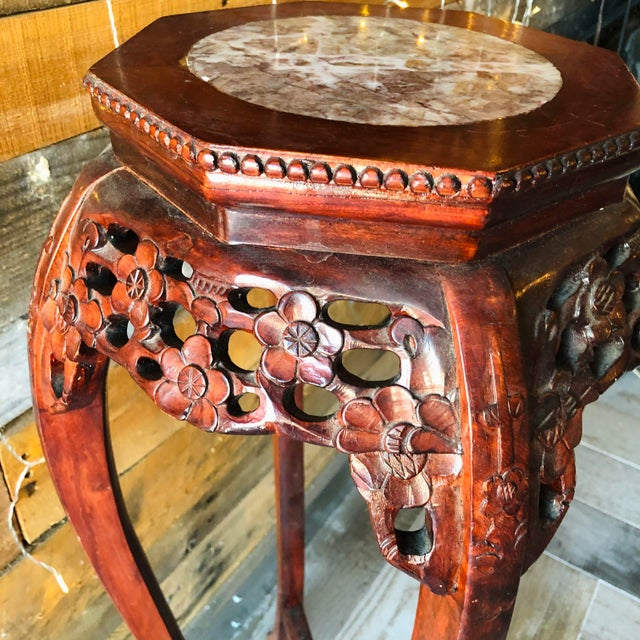Vintage Chinese Hand Carved Wood Marble Top Pedestal Table For Sale In West Palm - Image 6 of 9