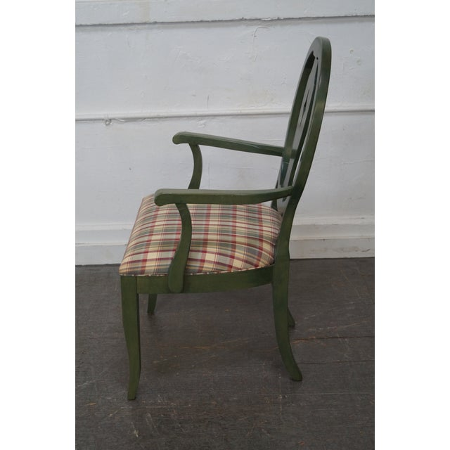 Ethan Allen Country Green Painted Arm Chair - Image 6 of 11