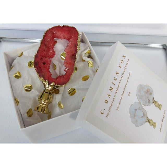 Red Coral Geode Finial in 14kt Gold - Image 4 of 5