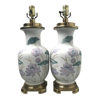 Glazed Porcelain Water Lily Lamps For Sale