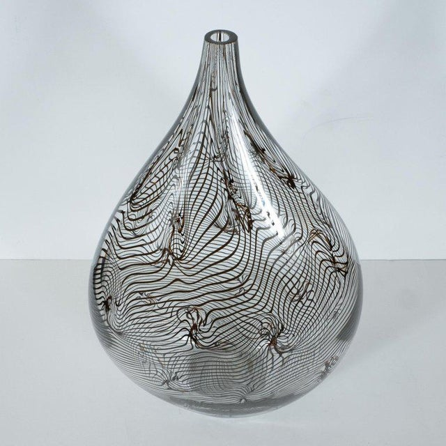 Early 21st Century Modernist Hand Blown Murano Translucent Tear Drop Vase With Black Swirl Details For Sale - Image 5 of 10