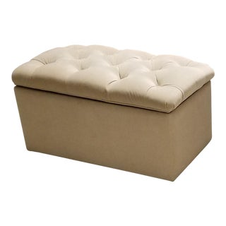 Bassett Custom Upholstered Velvet Tufted Storage Ottoman