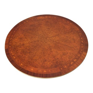 20th Century Hollywood Regency Burl Veneer Carved Pedestal Coffee Table For Sale