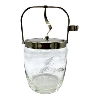 Mid-Century Hinged Lid Etched Glass Ice Bucket