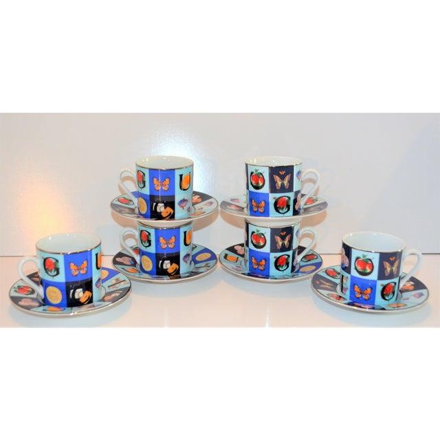 Vintage Mid Century Gucci Guccissimo Porcelain Espresso Cup Saucer Set- 12 Pieces For Sale - Image 10 of 13