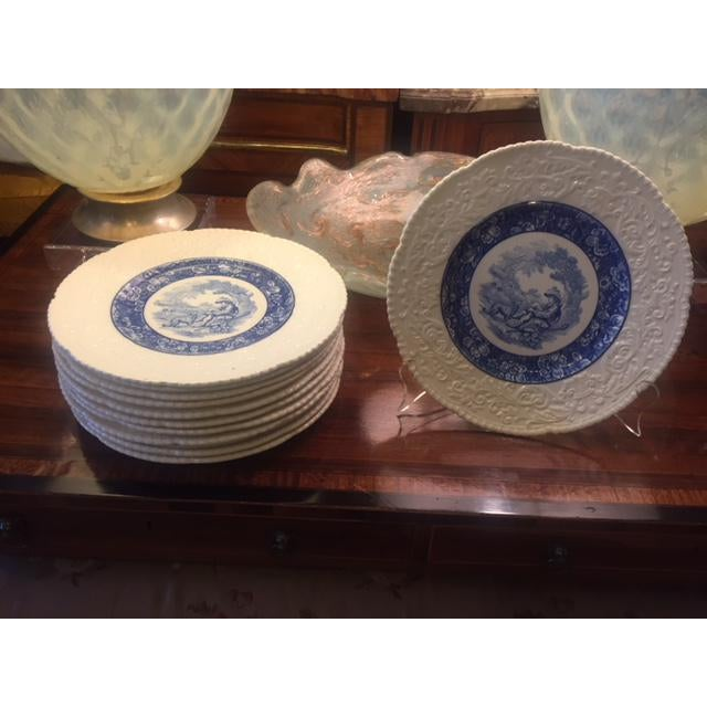 """French country Blue Transferware Charger Round Platter Shepherd Boy with His Dog & Sheep Embossed border 12 Piece 11 2/4""""..."""