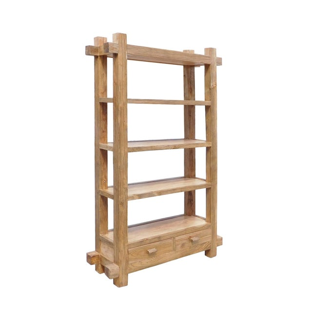 This is a display cabinet made of natural raw wood. It has 4 shelves for display or for book. It can be a room divider...