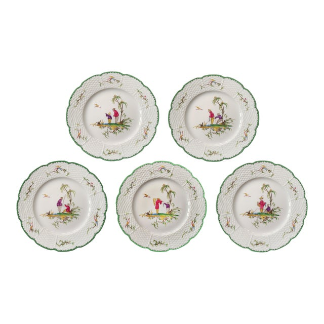 """Raynaud Chinoiserie Dessert Plates in """"Si Kiang"""" Pattern - Set of 5 For Sale"""