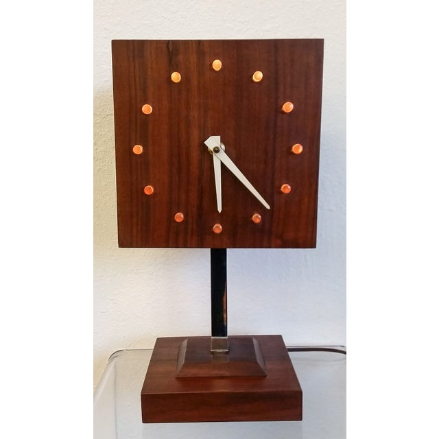 Mid-Century Modern Mid Century Nelson Style Walnut Table Clock For Sale - Image 3 of 7