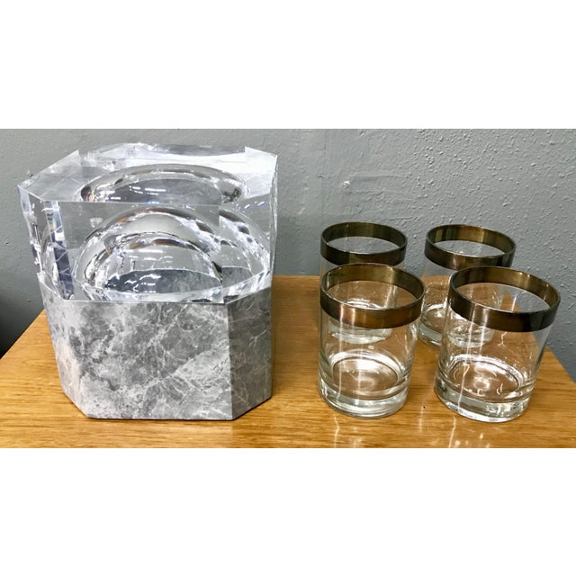 Modern New Gray Marble & Lucite Octagon Ice Bucket For Sale In Los Angeles - Image 6 of 8