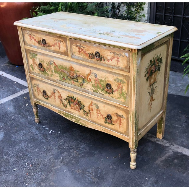 Antique Paint Decorated French Country Chest of Drawers Commode