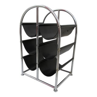 Mid-Century Chrome and Leather Wine Rack For Sale