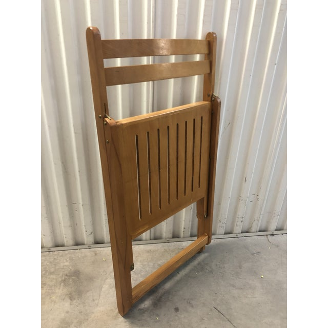 1960s Vintage Danish Romanian Wood Folding Dining Chair For Sale - Image 9 of 11