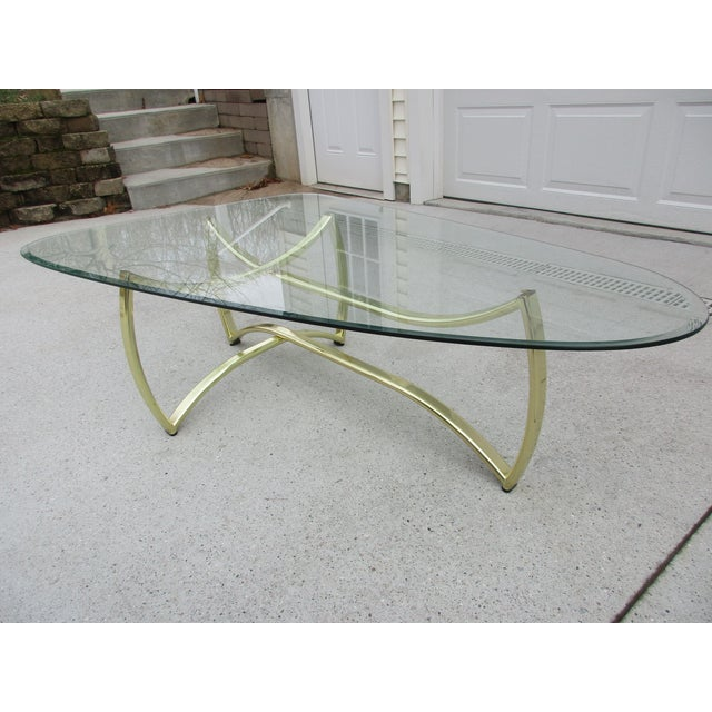 Oblong Brass and Beveled Glass Coffee Table For Sale - Image 6 of 10