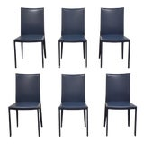 Image of Italian Modern Lilly Blue Leather Frag Dining Chairs - Set of 6 For Sale