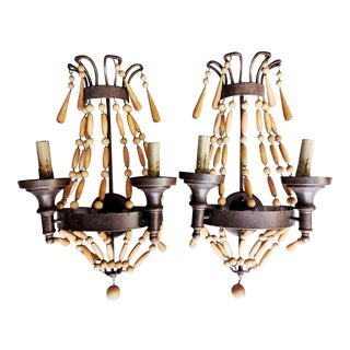 Beaded Barrel-Style Wall Sconces - a Pair For Sale