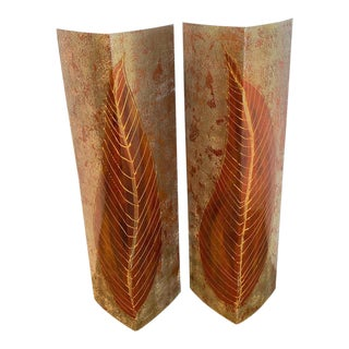 Enameled Palm Leaf Triangular Panels, by the Evans Design Group - a Pair For Sale