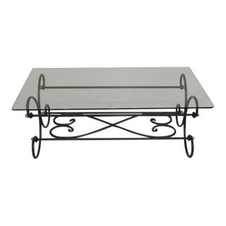 Forged Iron & Brass Base Coffee Table
