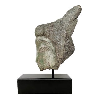 Vintage Stone Head Bust Sculpture of a Woman For Sale
