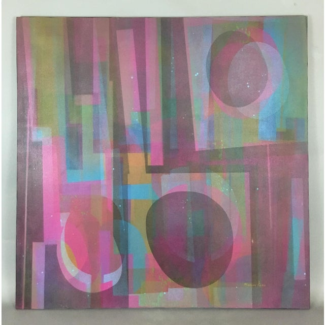 Blue Vintage Mid-Century Abstract Geometric Painting by Marian Ford For Sale - Image 8 of 8