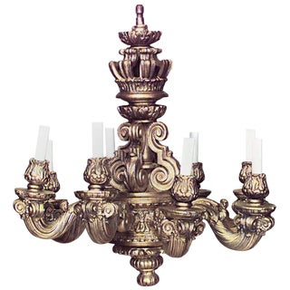 19th Century Louis XIV Style Wood and Gesso Gold Painted Eight-Arm Chandelier For Sale