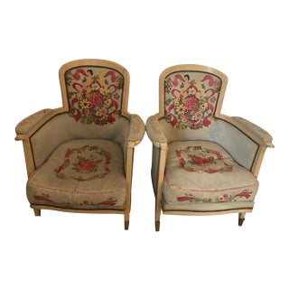 Jules LeLeu Style French Tapestry Chairs- A Pair For Sale