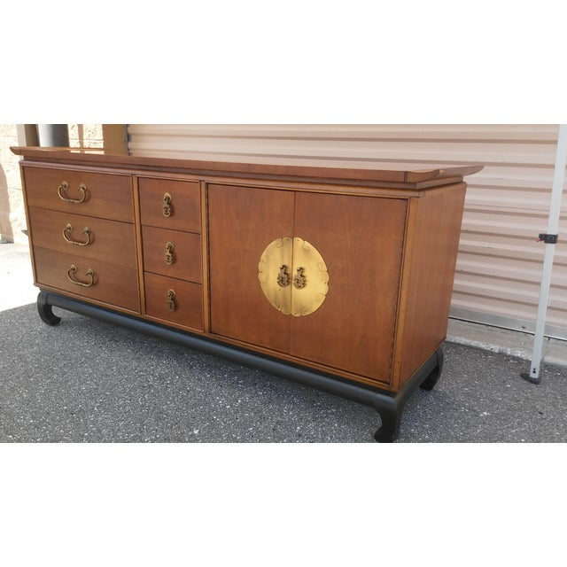 Vintage Kent Coffey Cherry Chinoiserie Dresser Credenza or Buffet Solid Nanking Cherry Manufactured by Kent Coffey as part...