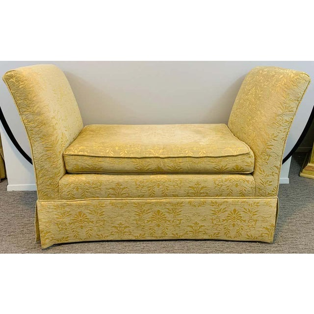 A stunning pair of French Art Deco style in custom high quality yellow gold upholstery. The upholstery features fine...