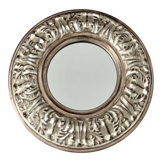 1990s Vintage Bombay Company Silver Accent Wood Wall Mirror For Sale