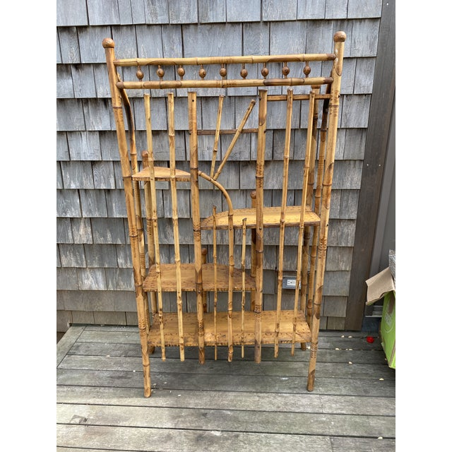 American Vintage Asian Bamboo Etagere For Sale - Image 3 of 9