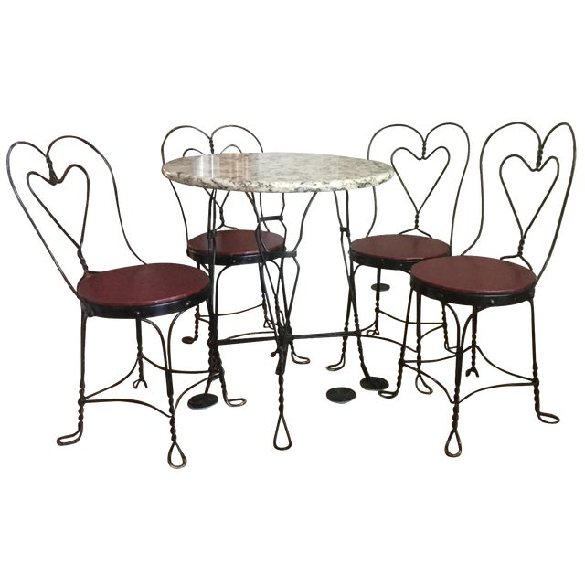 Vintage Ice Cream Parlor Dining Set - Image 1 of 7
