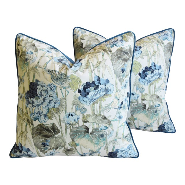 "Chinoiserie Crane & Floral Feather/Down Pillows 24"" Square - Pair For Sale"
