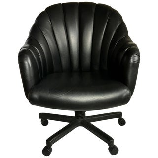 1980s Hollywood Regency Style Channel Leather Swivel Desk Chair, Jack Cartwright For Sale