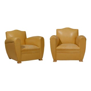 Handsome Art Deco Club Chairs in Yellow Ochre Leather For Sale