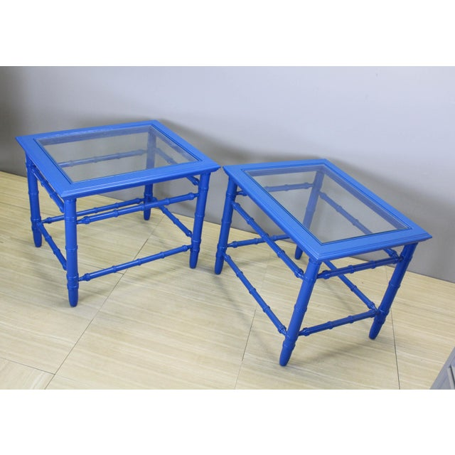 Mid-Century Royal Blue Side Tables - A Pair For Sale - Image 10 of 10