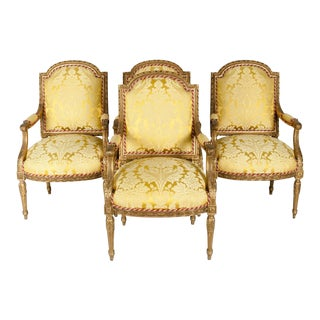 Early 19th Century Louis XVI Style Giltwood Frame Fauteuils For Sale